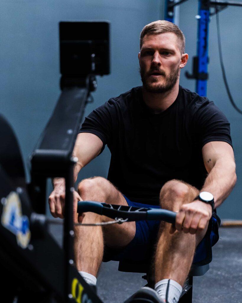 Athlete on rowing machine